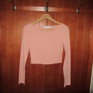 Peach/light salmon colored crop top long sleeve